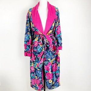 Vintage Adonna Lux Floral Satin Terry Lined Robe